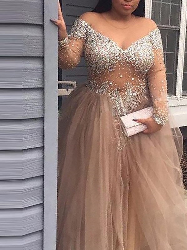 Sweep/Brush Scoop Long Sleeves A-Line Prom Dress