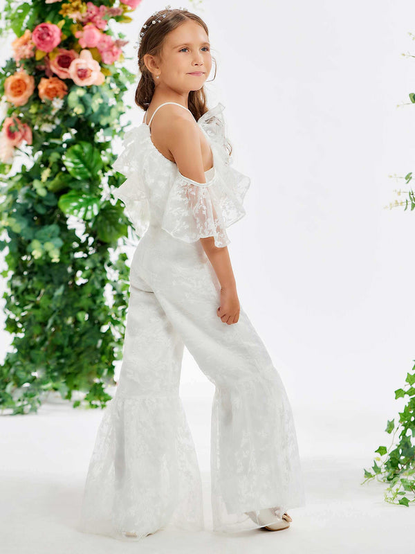 Sheath/Column Sleeveless Floor-Length Lace Flower Girl Dress
