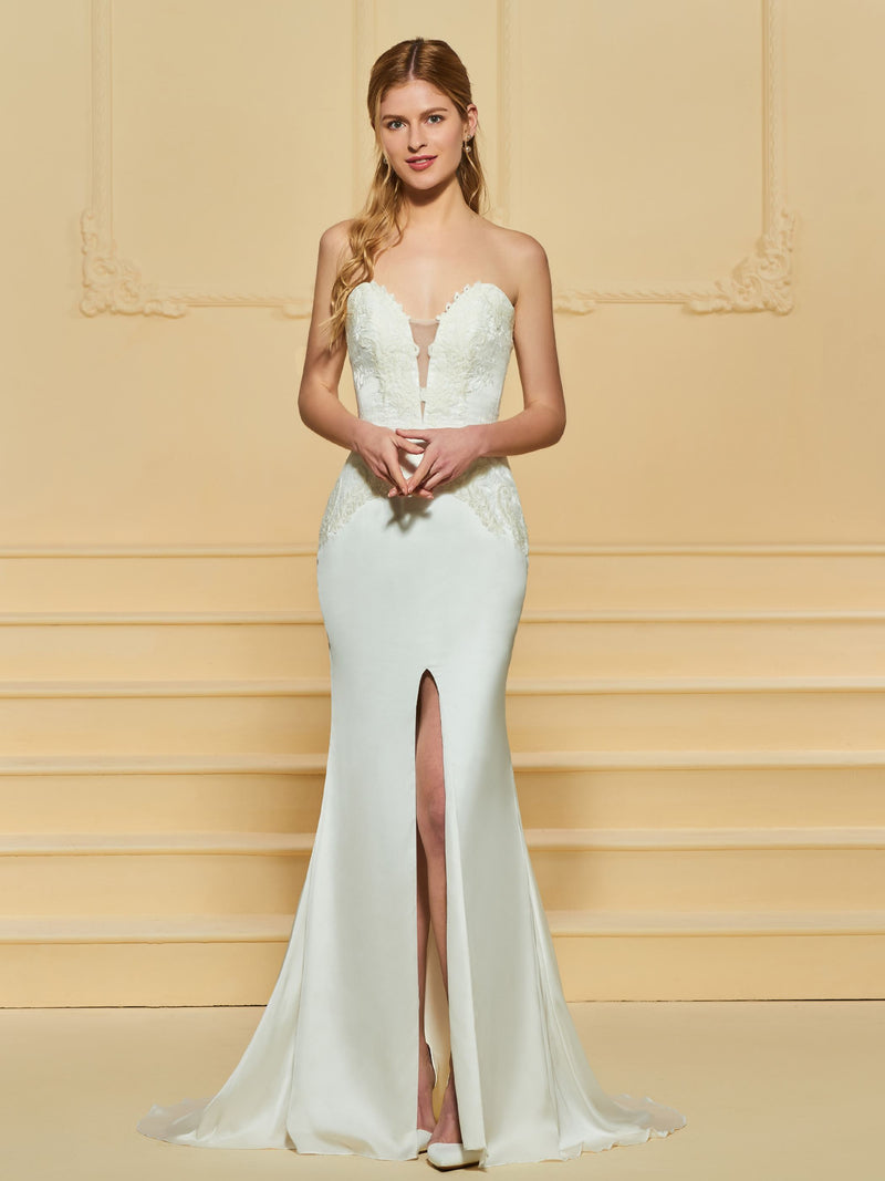 Trumpet/Mermaid Sweep/Brush Split-Front Floor-Length Hall Wedding Dress