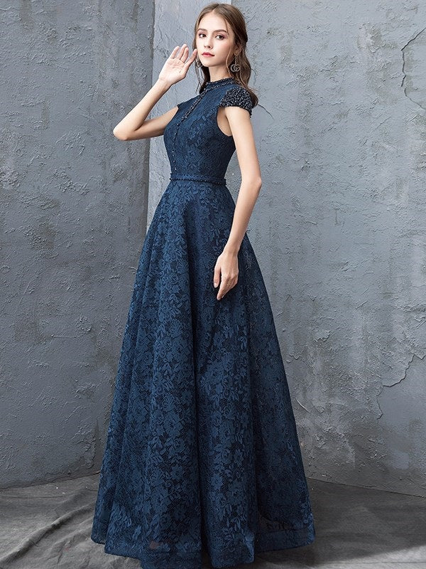 Cap Sleeves A-Line Floor-Length High Neck Evening Dress