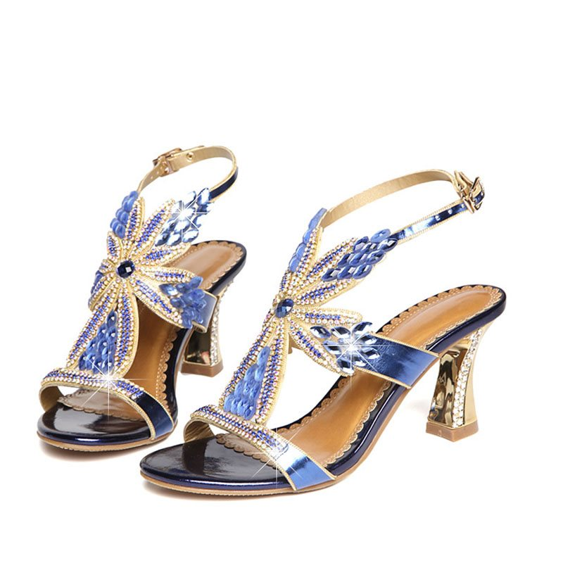 Chunky Heel Open Toe Buckle Strappy Banquet Low-Cut Upper Sandals