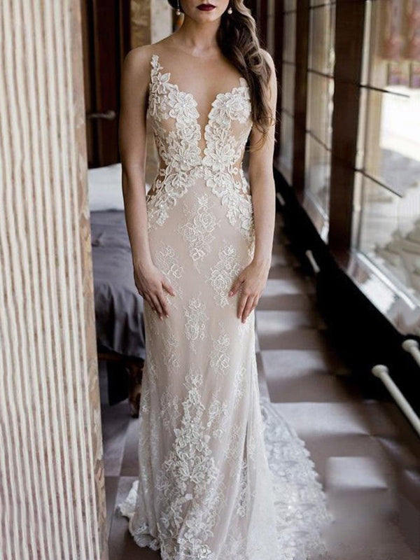 Lace Floor-Length Court Sleeveless Hall Wedding Dress