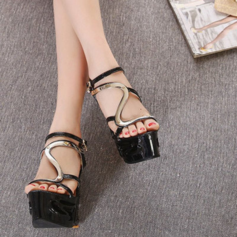 Open Toe Wedge Heel Buckle Strappy Low-Cut Upper Banquet Sandals