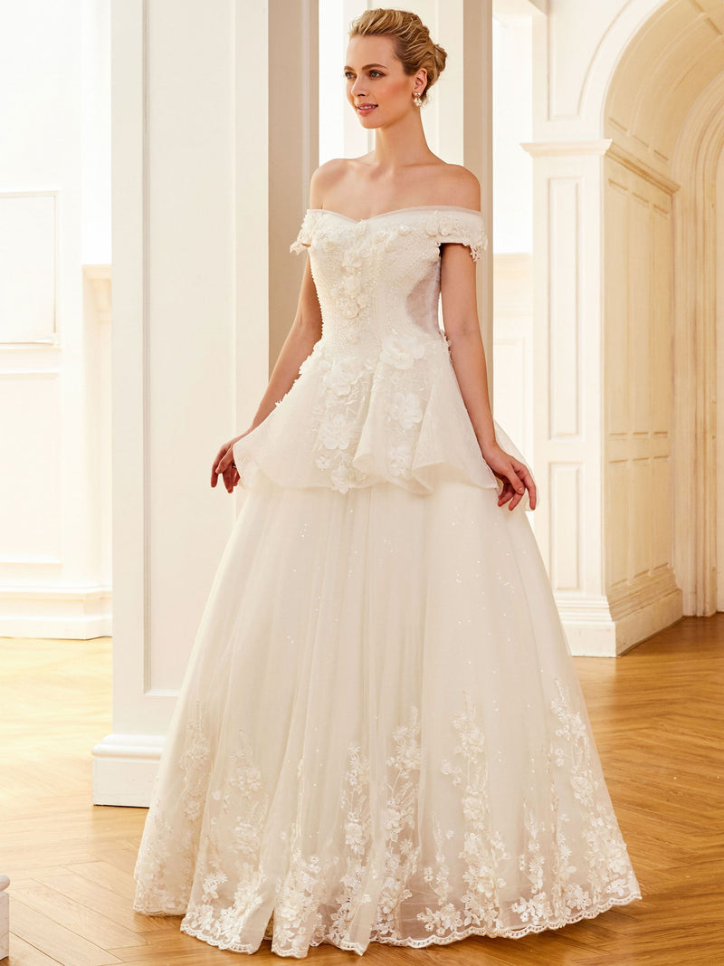 A-Line Off-The-Shoulder Pearl Short Sleeves Garden/Outdoor Wedding Dress