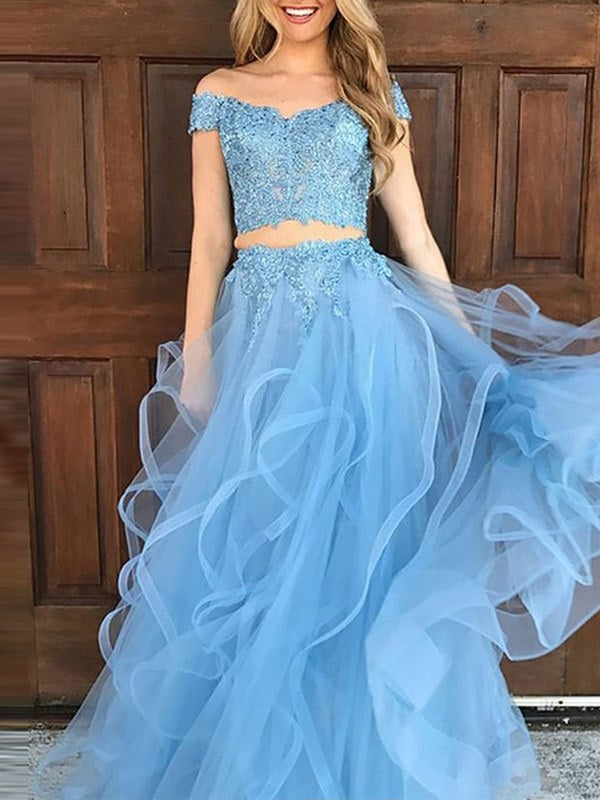 A-Line Short Sleeves Appliques Off-The-Shoulder Prom Dress