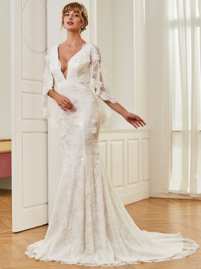 V-Neck Trumpet/Mermaid Court Lace Church Wedding Dress