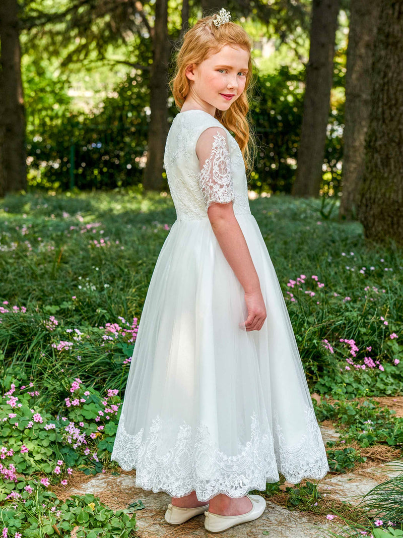 Ankle-Length Short Sleeves Lace Jewel Flower Girl Dress