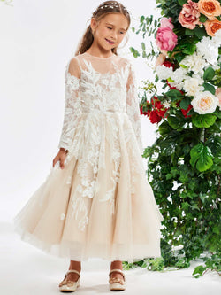 Tea-Length Ball Gown Scoop Long Sleeves Flower Girl Dress