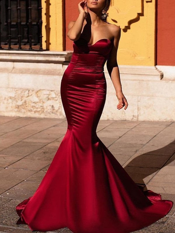 Floor-Length Sweetheart Trumpet/Mermaid Sleeveless Evening Dress