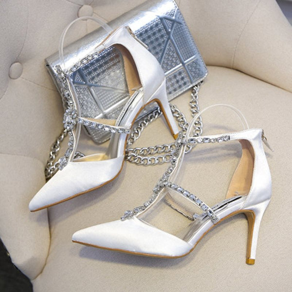 Rhinestone Pointed Toe Zipper Stiletto Heel Plain Low-Cut Upper Thin Shoes