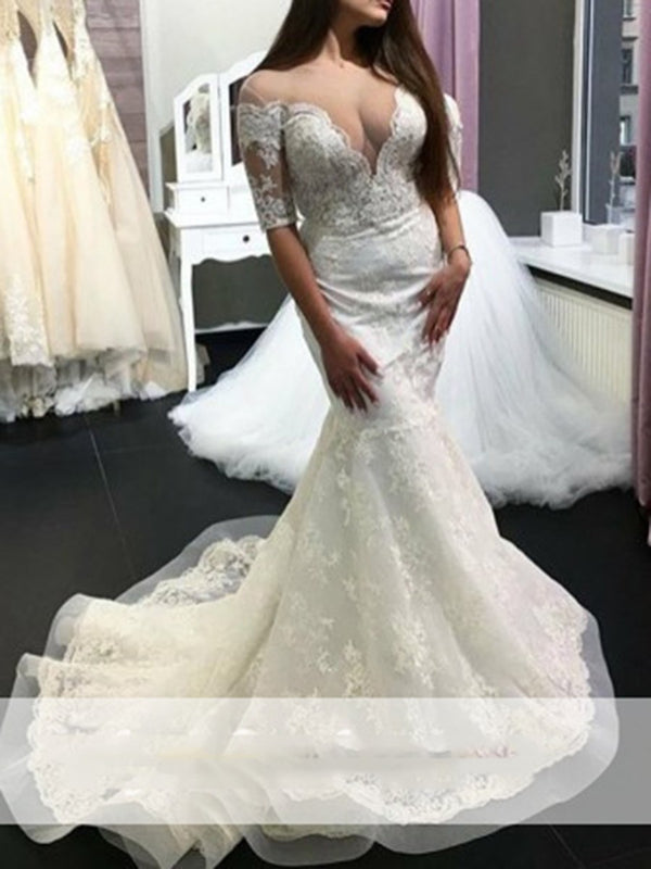 Trumpet/Mermaid Scoop Floor-Length Half Sleeves Hall Wedding Dress