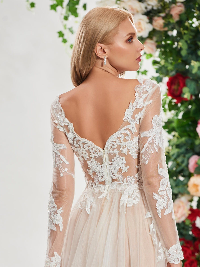 Lace V-Neck A-Line Long Sleeves Church Wedding Dress