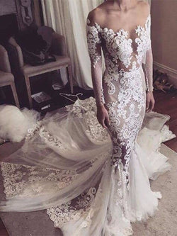 Trumpet/Mermaid Long Sleeves Chapel Off-The-Shoulder Church Wedding Dress