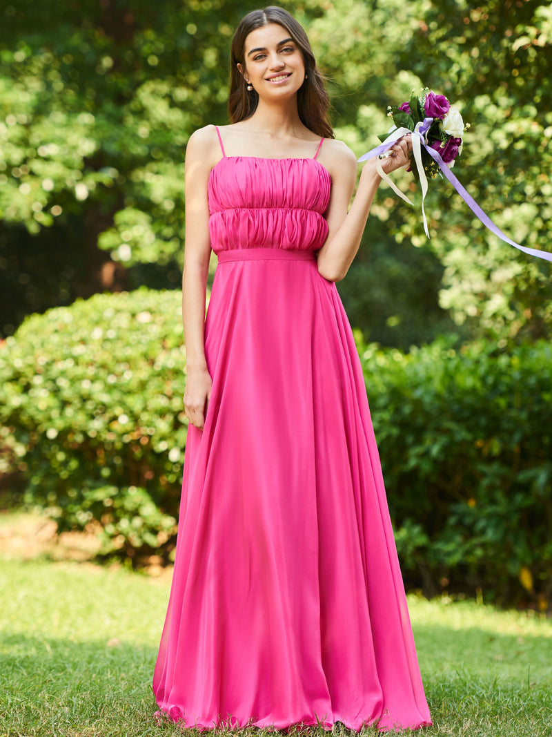 Sleeveless Floor-Length Ruched A-Line Wedding Party Dress