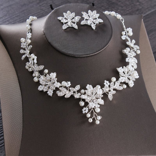 Earrings Korean Floral Jewelry Sets (Wedding)