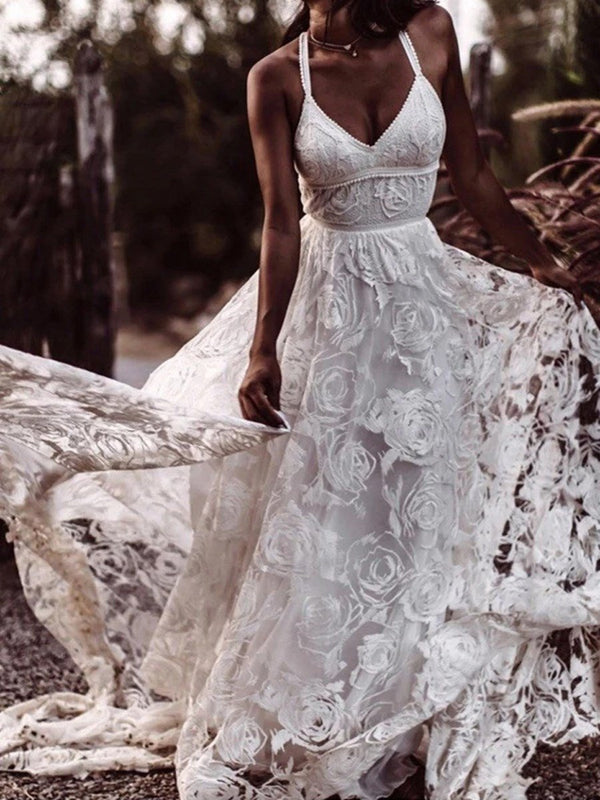 Lace A-Line Floor-Length Sweep/Brush Beach Wedding Dress