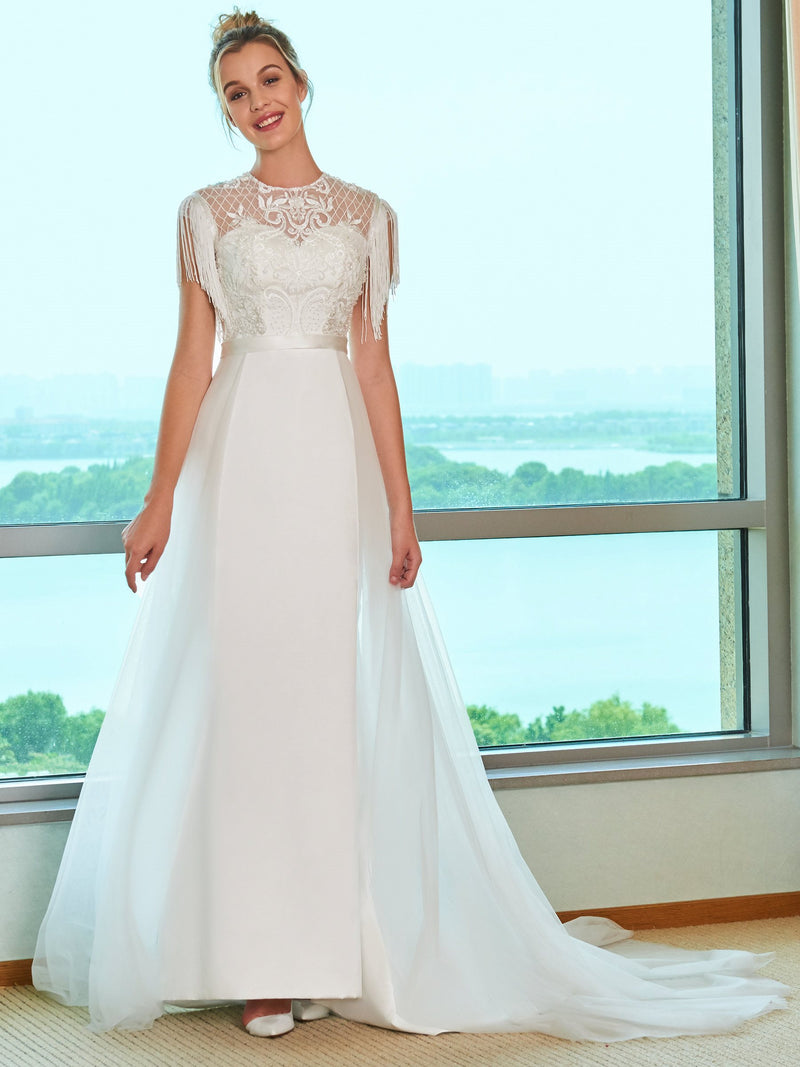 Cap Sleeves Jewel A-Line Watteau Church Wedding Dress