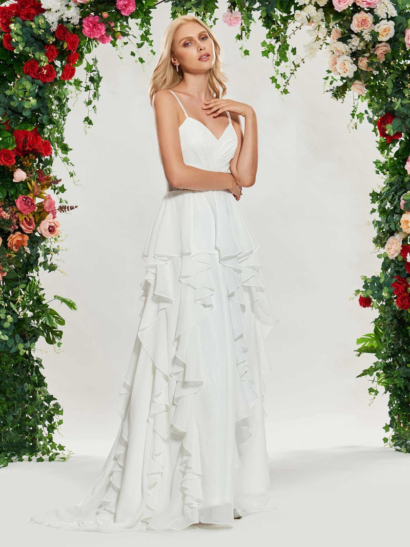 Sleeveless Spaghetti Straps A-Line Floor-Length Beach Wedding Dress
