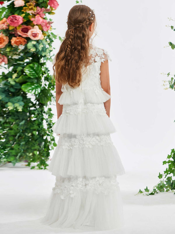 Cap Sleeves A-Line Appliques Summer Flower Girl Dress