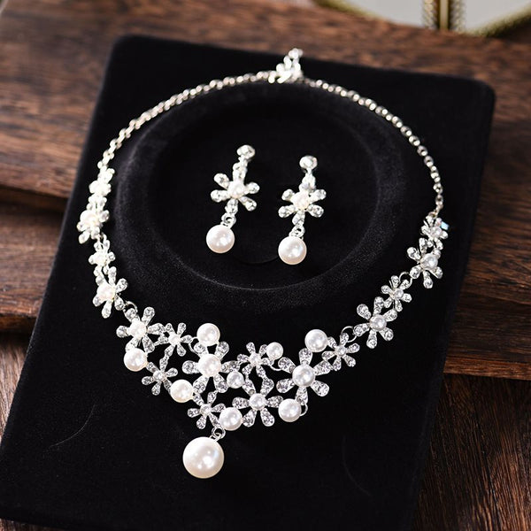 Gemmed Floral Earrings Jewelry Sets (Wedding)