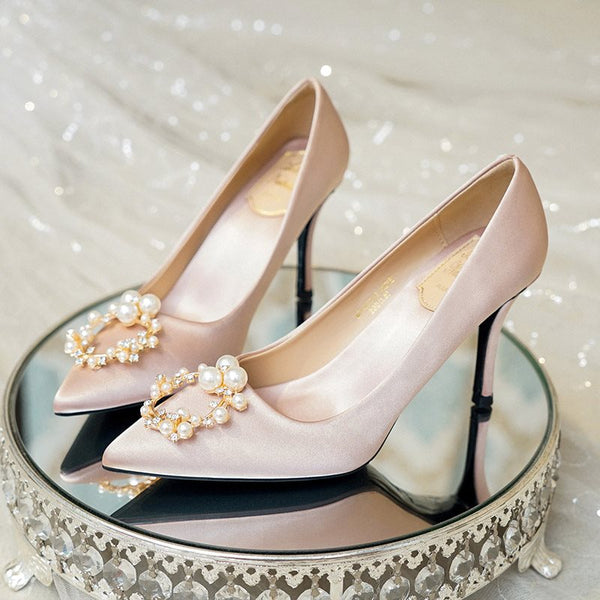 Pointed Toe Stiletto Heel Slip-On Rhinestone Low-Cut Upper Wedding Thin Shoes