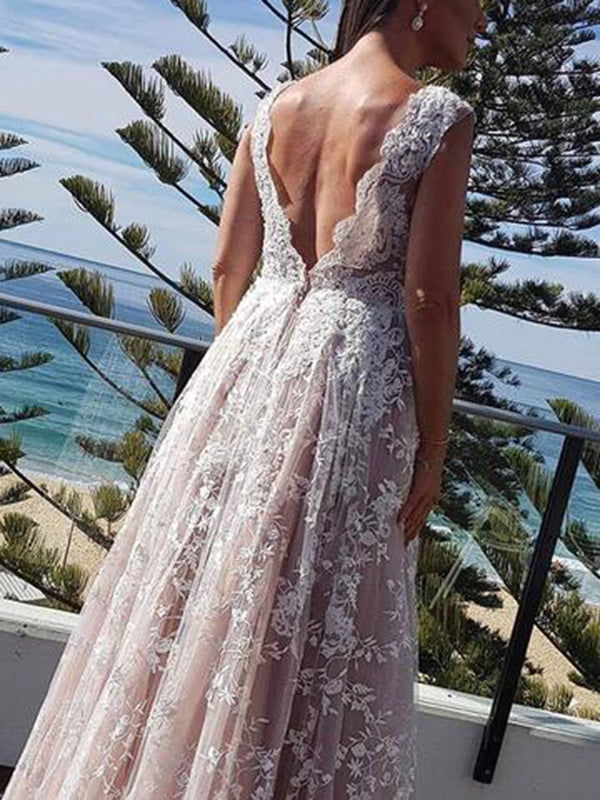 V-Neck Floor-Length A-Line Lace Hall Wedding Dress