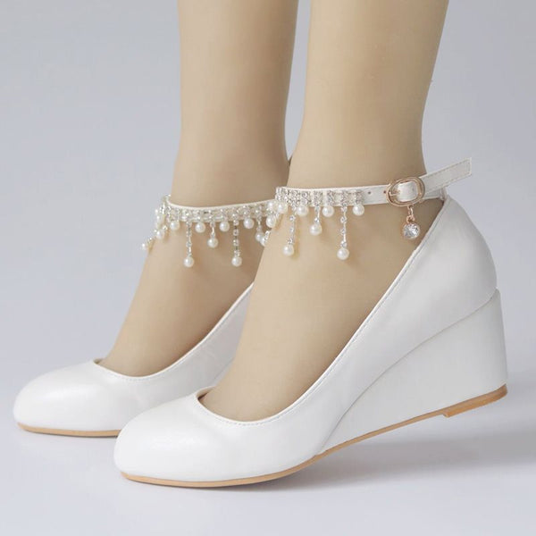 Line-Style Buckle Round Toe Wedge Heel Rhinestone 7cm Low-Cut Upper Thin Shoes