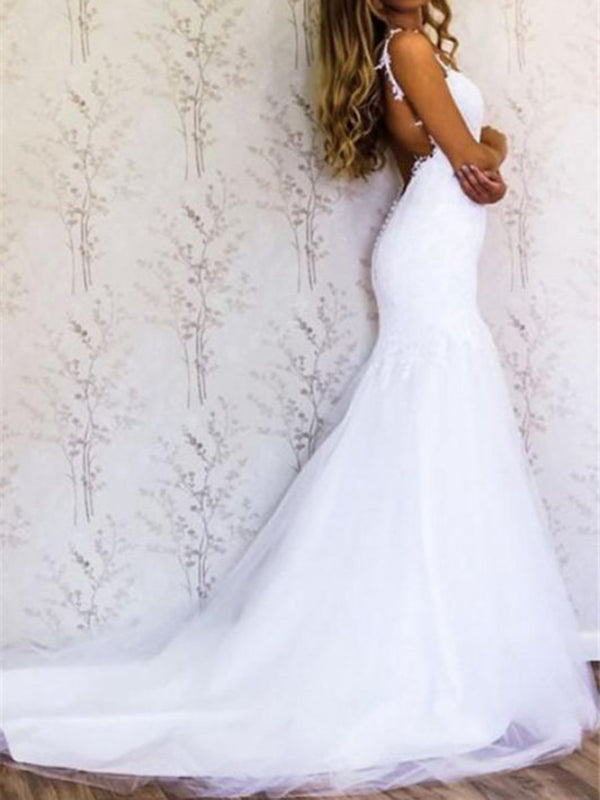 Spaghetti Straps Court Floor-Length Lace Church Wedding Dress
