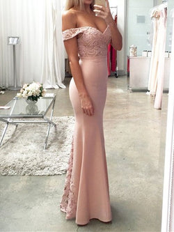 Off-The-Shoulder Sleeveless Floor-Length Trumpet/Mermaid Evening Dress