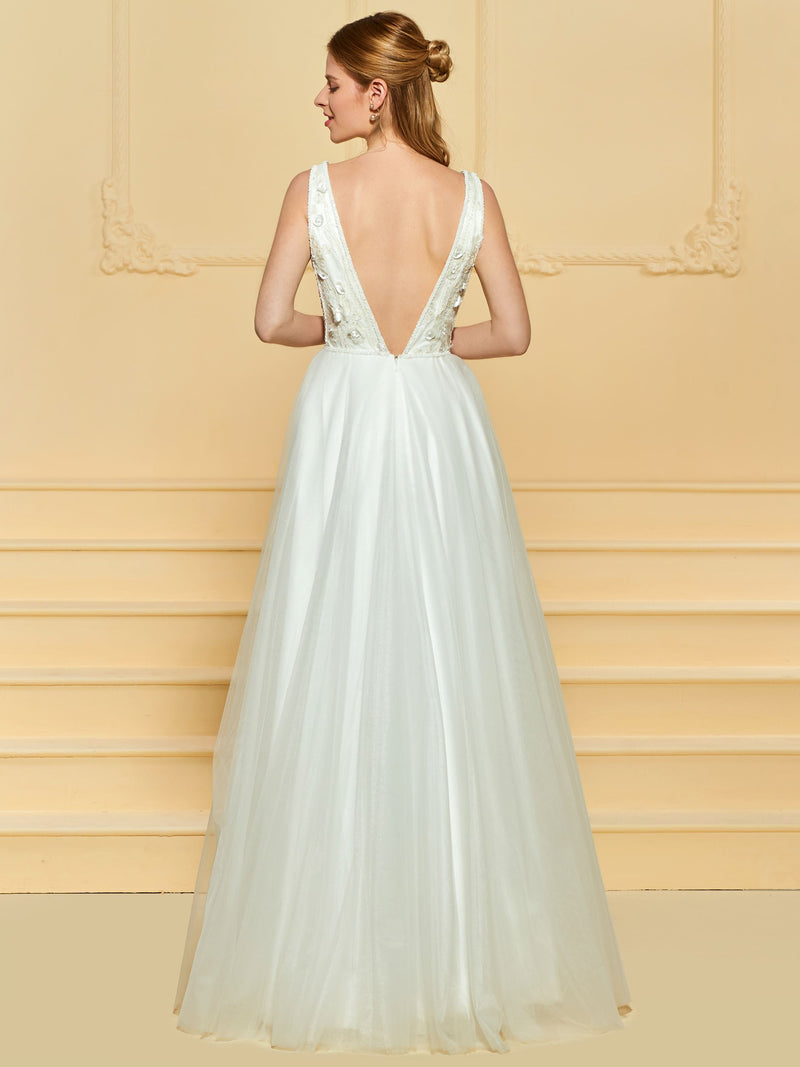 A-Line V-Neck Floor-Length Sleeveless Hall Wedding Dress