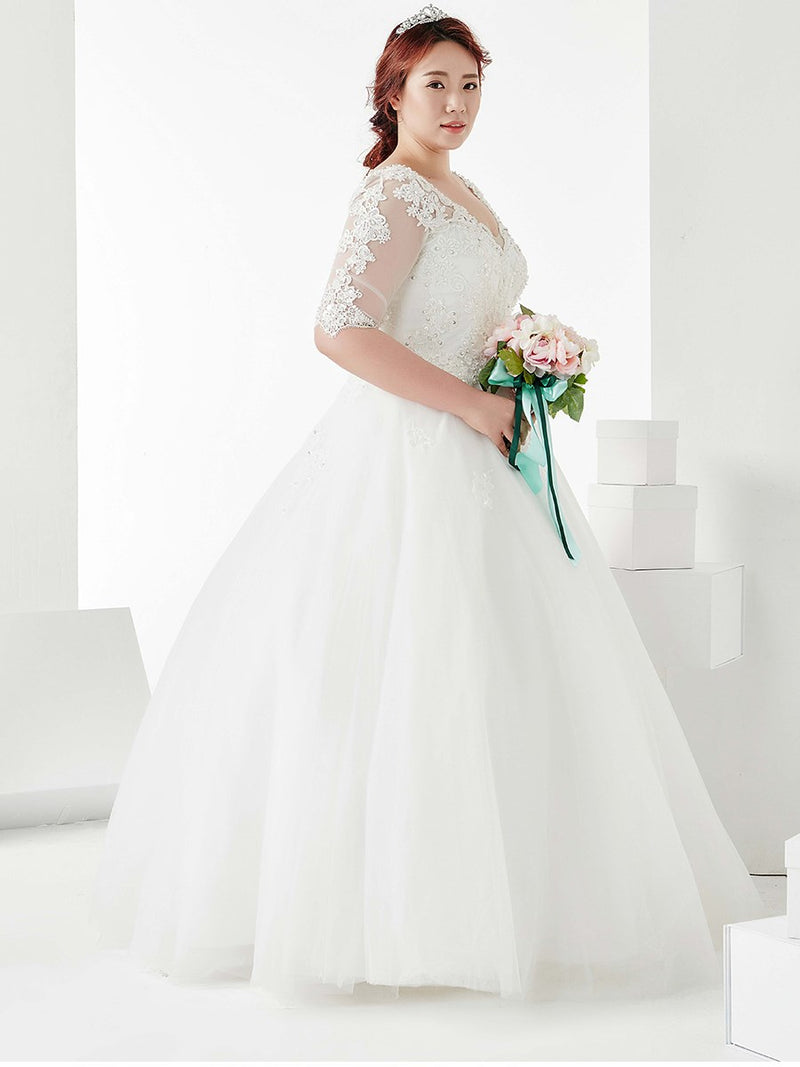 Floor-Length Half Sleeves Ball Gown Sequins Dress