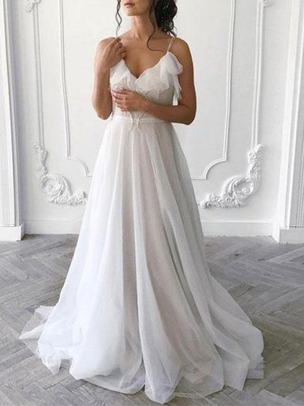 Sleeveless Ruffles Spaghetti Straps A-Line Garden/Outdoor Wedding Dress
