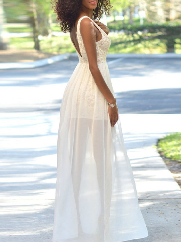 Sleeveless V-Neck Floor-Length Expansion High Waist Dress