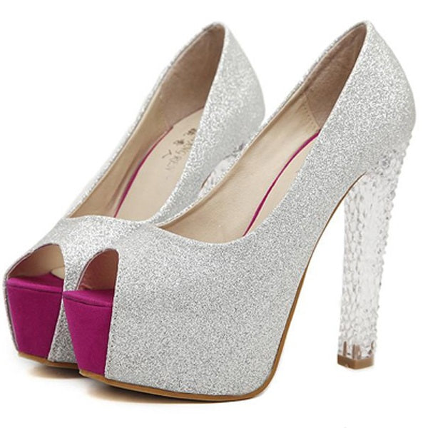 Chunky Heel Sequin Slip-On Peep Toe Plain Low-Cut Upper Thin Shoes