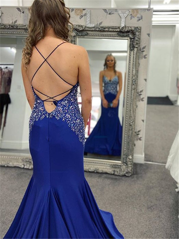 Beading Spaghetti Straps Trumpet/Mermaid Floor-Length Evening Dress