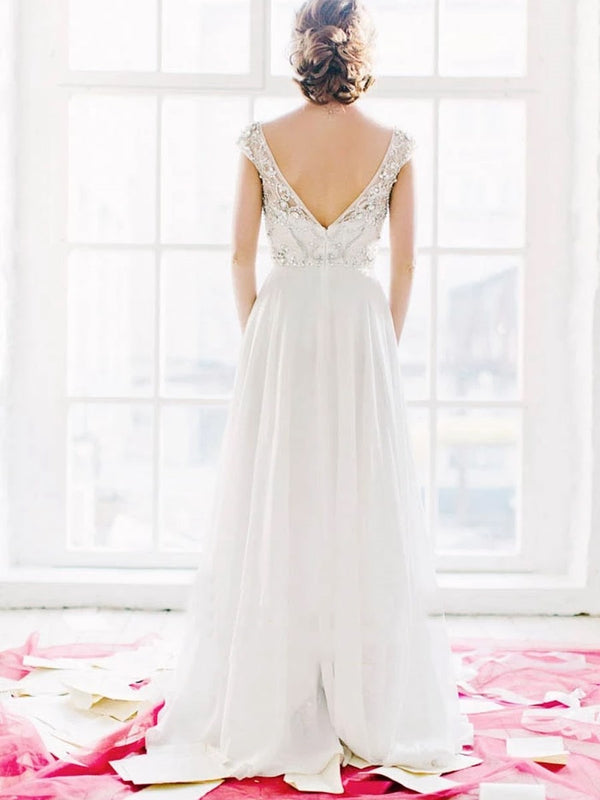 Beading A-Line Sweep/Brush Scoop Church Wedding Dress