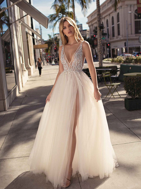 Straps Ball Gown Beading Sweep/Brush Evening Dress