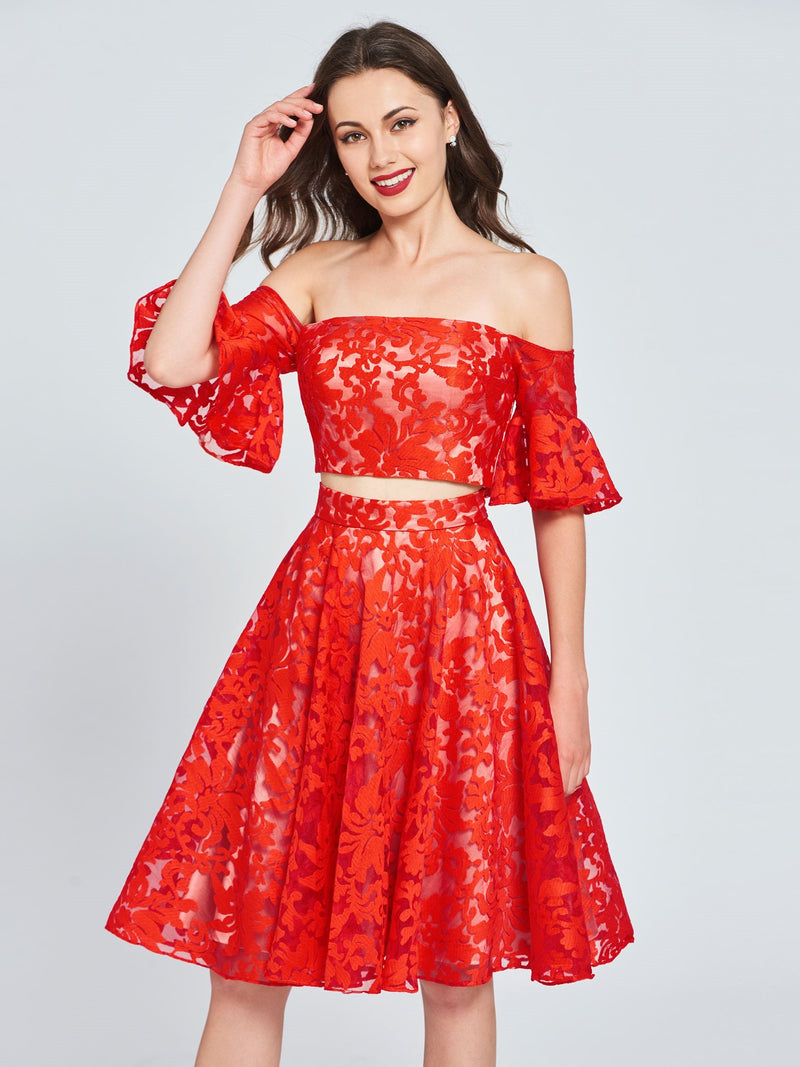 Lace Off-The-Shoulder A-Line Knee-Length Evening Dress