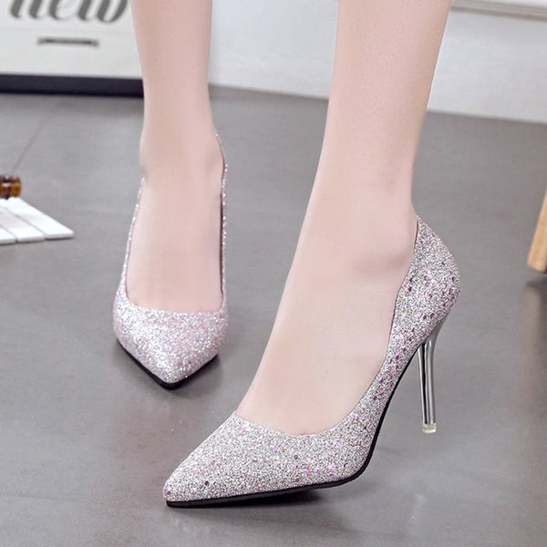 Sequin Pointed Toe Slip-On Stiletto Heel Plain Low-Cut Upper Thin Shoes