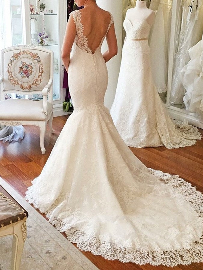 Trumpet/Mermaid Floor-Length V-Neck Court Garden/Outdoor Wedding Dress