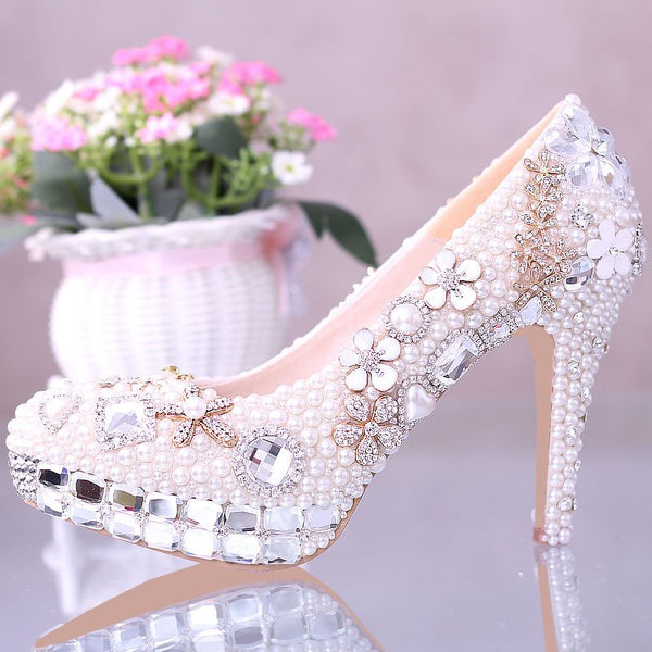 Beads Round Toe Slip-On Stiletto Heel Wedding Sweet Thin Shoes