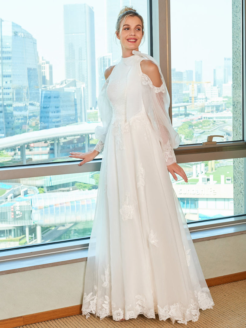 A-Line Long Sleeves Hollow Floor-Length Hall Wedding Dress