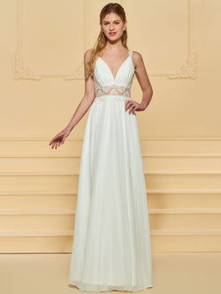 Sleeveless Floor-Length A-Line Appliques Beach Wedding Dress