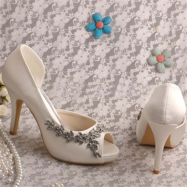 Slip-On Stiletto Heel Peep Toe Thread Wedding Ultra-High Heel Thin Shoes