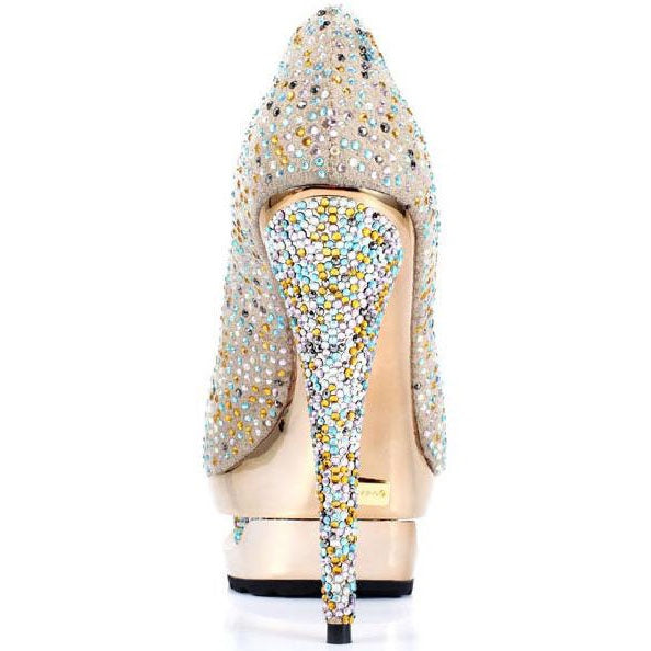 Slip-On Closed Toe Stiletto Heel Rhinestone Western Low-Cut Upper Thin Shoes