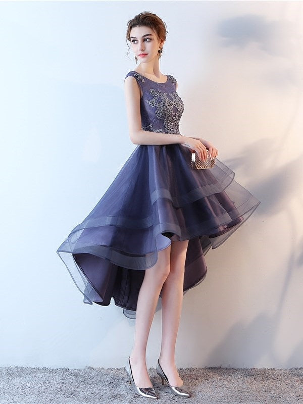 Asymmetry Scoop Sleeveless A-Line Sweet 16 Dress