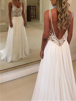 Sleeveless V-Neck Sweep/Brush A-Line Beach Wedding Dress