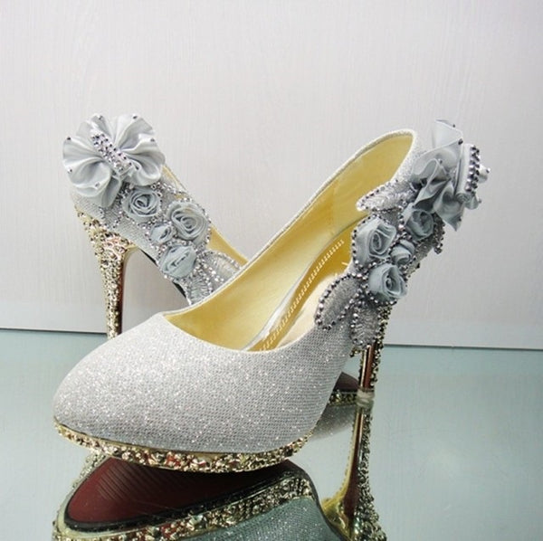 Round Toe Stiletto Heel Bow Slip-On Wedding Sweet Thin Shoes