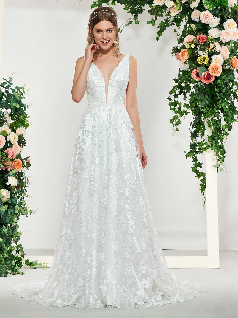 V-Neck A-Line Lace Floor-Length Hall Wedding Dress
