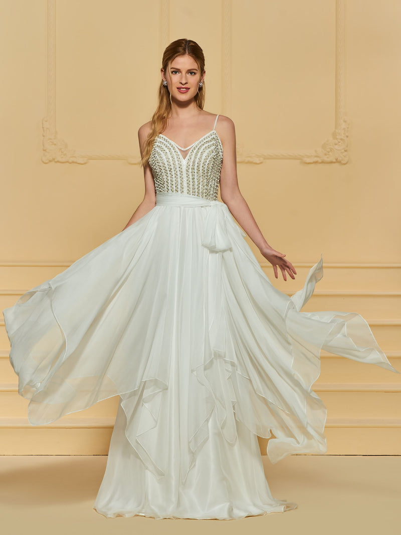 A-Line Beading Floor-Length Spaghetti Straps Church Wedding Dress